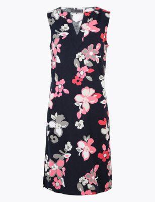 Linen Floral Knee Length Shift Dress