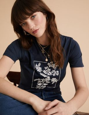 Cotton Floral Embroidered Crew Neck T-Shirt