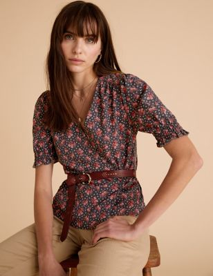 Floral V-Neck Puff Sleeve Top