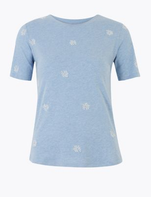 Cotton Rich Embroidered T-Shirt