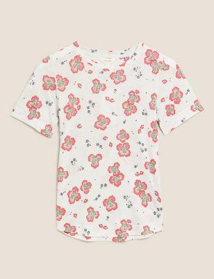 Linen Floral Crew Neck T-Shirt