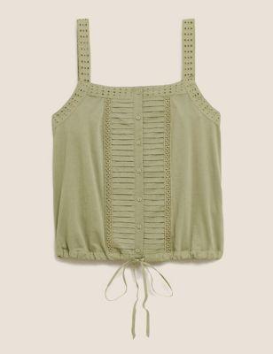 Pure Cotton Square Neck Camisole Top