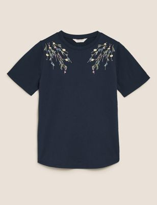 Pure Cotton Embroidered Crew Neck T-Shirt
