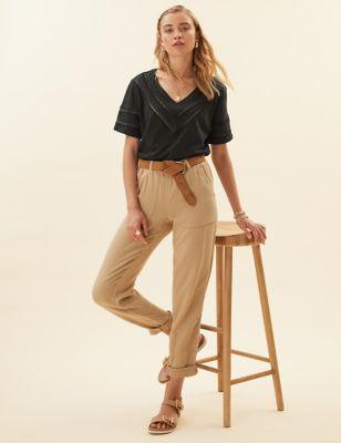Pure Cotton V-Neck Lace Insert T-Shirt