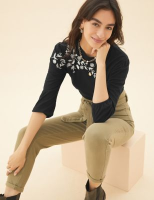 Pure Cotton Embroidered 3/4 Sleeve Top