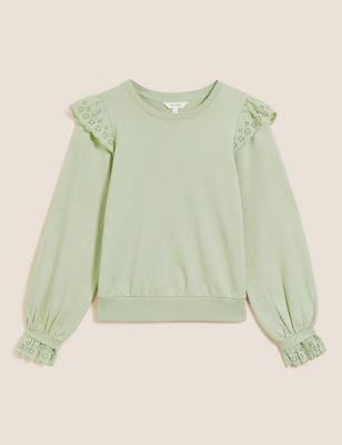 Pure Cotton Frill Detail Sweatshirt