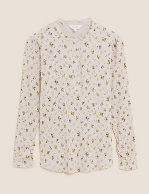 Cotton Floral Long Sleeve Henley Top