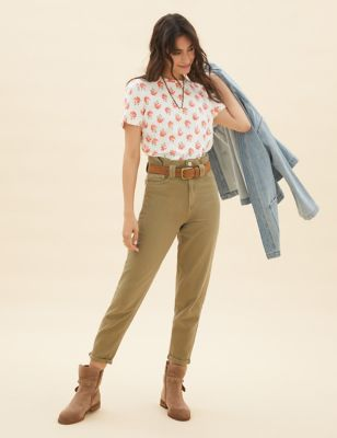 Cotton Printed T-Shirt with Linen
