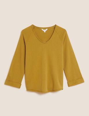 Pure Cotton V-Neck Sweatshirt