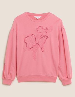 Pure Cotton Embroidered Relaxed Sweatshirt