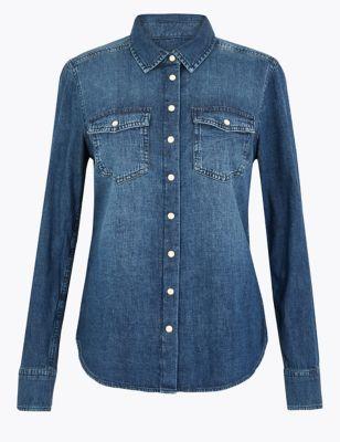Pure Cotton Button Detail Long Sleeve Shirt