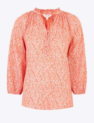 Pure Cotton Floral V-Neck 3/4 Sleeve Blouse
