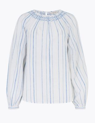Linen Striped Blouson Sleeve Blouse
