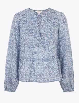 Pure Cotton Floral Blouson Sleeve Blouse