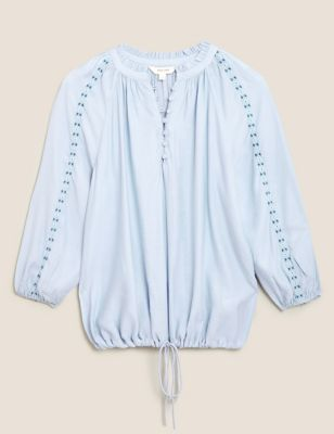 Embroidered Relaxed Blouson Sleeve Blouse