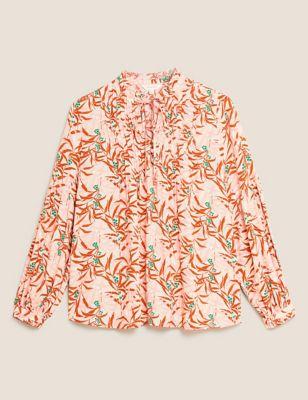 Leaf Print Tie Front Long Sleeve Blouse
