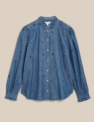 Tencel™ Denim Embroidered Ruffle Blouse