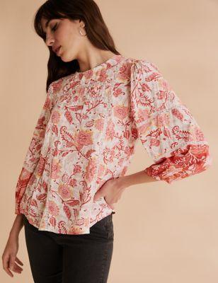 Floral Lace Insert Blouson Sleeve Blouse