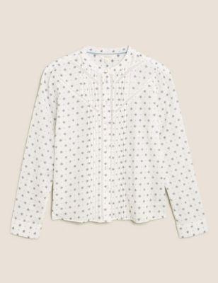 Pure Cotton Floral High Neck Shirt