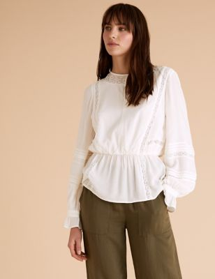 Lace Insert Waisted Blouson Sleeve Blouse
