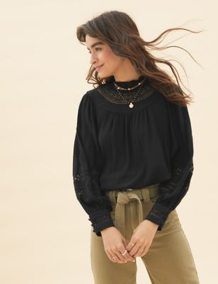 High Neck Lace Insert Long Sleeve Blouse