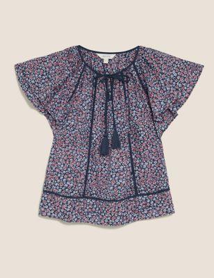Pure Cotton Floral Tie Front Top