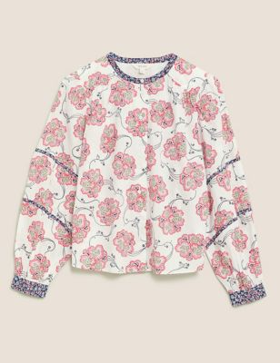 Pure Cotton Floral Collarless Blouse