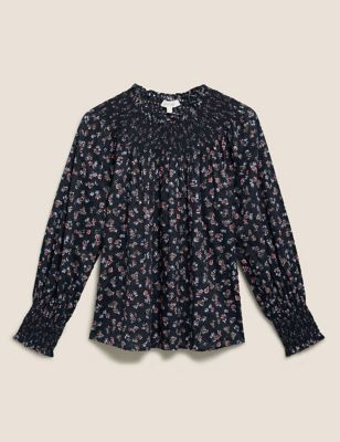 Pure Cotton Floral Smocked Popover Blouse