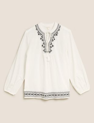 Pure Cotton Embroidered Tie Neck Blouse