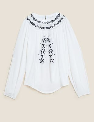 Embroidered Blouson Sleeve Blouse