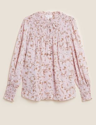 Ditsy Floral Tie Neck Long Sleeve Blouse