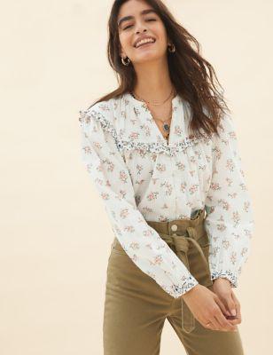 Pure Cotton Floral V-Neck Ruffle Blouse