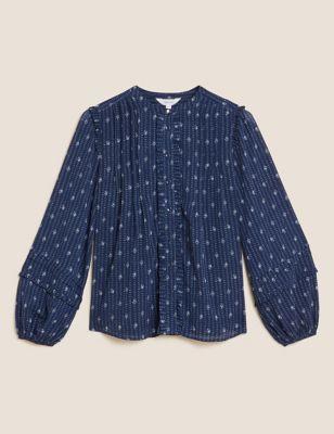 Sheer Printed Long Sleeve Blouse