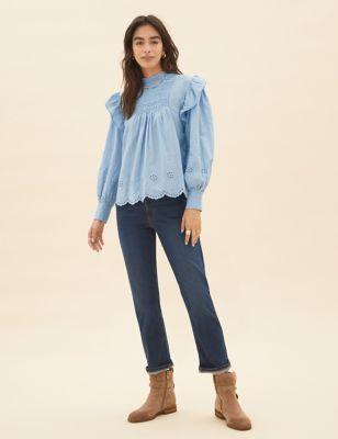 Pure Cotton Broderie Blouson Sleeve Blouse