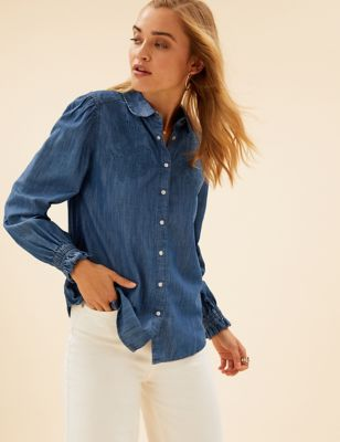 Denim Floral Applique Long Sleeve Shirt