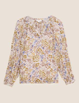 Floral V-Neck Shirred Long Sleeve Blouse