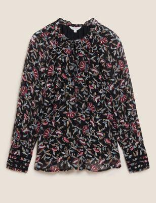 Floral Tie Neck Blouson Sleeve Blouse