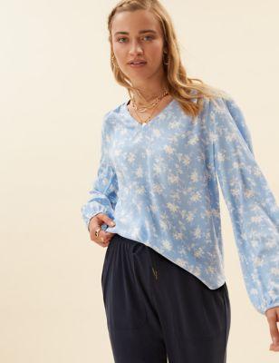Floral V-Neck Blouson Sleeve Popover Blouse