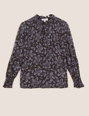 Floral Tie Neck Ruffle Shirred Blouse
