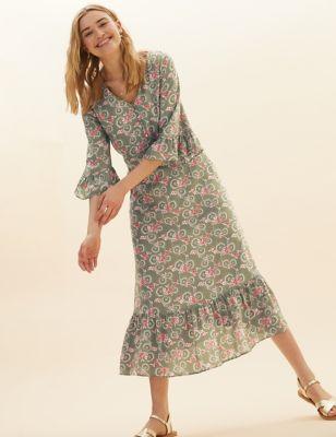 Floral Print V-Neck Midi Swing Dress