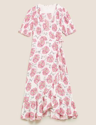Floral Frill Detail Midi Wrap Dress
