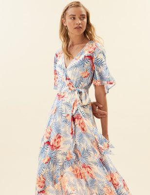 Crepe Floral V-Neck Midi Wrap Dress