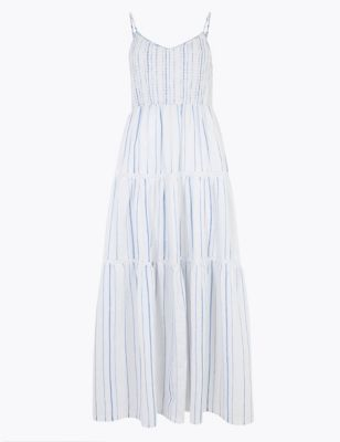 Linen Striped V-Neck Midaxi Slip Dress