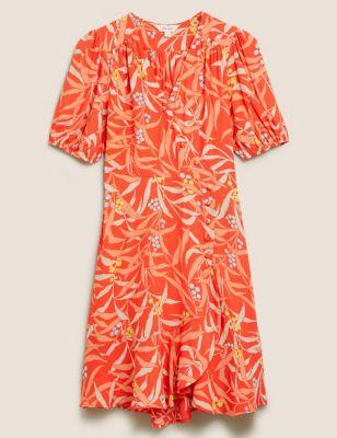 Leaf Print V-Neck Knee Length Wrap Dress