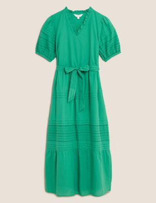 Pure Cotton Embroidered Midaxi Dress