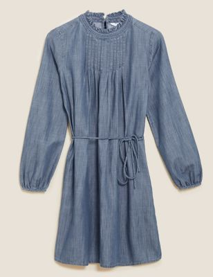 High Neck Frill Detail Mini Shift Dress