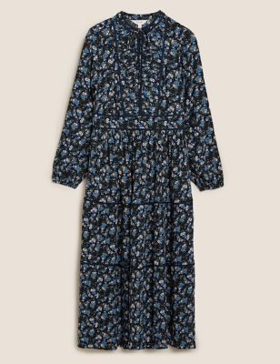 Ditsy Floral High Neck Maxi Relaxed Dress