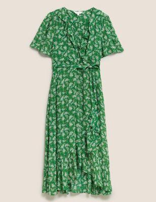 Floral V-Neck Ruffle Midi Wrap Dress