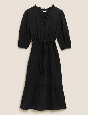 Pure Cotton Textured V-Neck Midi Dress
