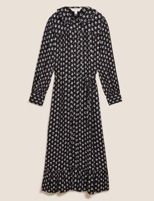 Leaf Print Collared Midaxi Shirt Dress